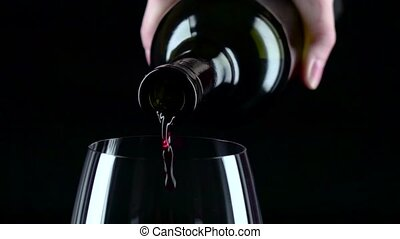 Red wine glass, black, silhouette, slowmotion, closeup - Red...