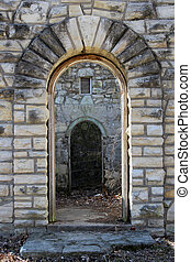 Doorway in Stone Ruins from Work Progress Administration Era...