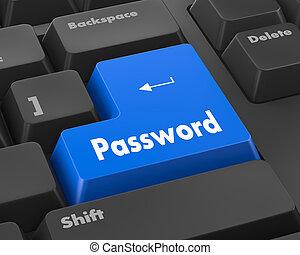 password - Text password button 3d render