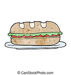 textured cartoon sub sandwich - freehand textured cartoon...