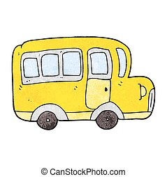 textured cartoon yellow school bus - freehand textured...
