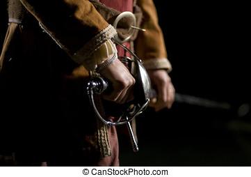 mosquetero, O, espadachín, encima, negro, Plano de...
