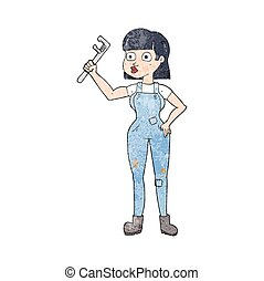 textured cartoon female plumber - freehand textured cartoon...