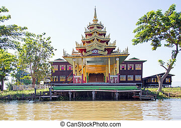 Ancient pagoda at Inle Lake in Myanmar