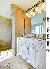 Luxury bathroom with white cabinets, marble counters, and large walk in shower.
