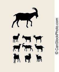 Goat Silhouettes, art vector design