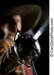 Musketeer o Swordsman over a Black Background - European...