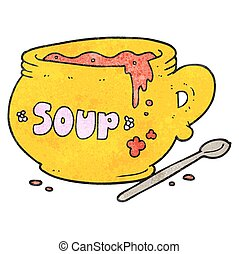 textured cartoon bowl of soup