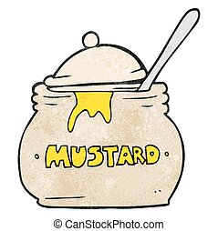 textured cartoon mustard pot - freehand textured cartoon...