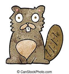 textured cartoon beaver - freehand textured cartoon beaver