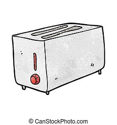 textured cartoon toaster - freehand textured cartoon toaster