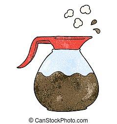 textured cartoon coffee jug - freehand textured cartoon...