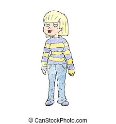 textured cartoon woman in casual clothes - freehand textured...