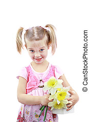 Mothers Day Gift - Adorable little girl holds fresh picked...