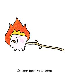 textured cartoon burning marshmallow - freehand textured...