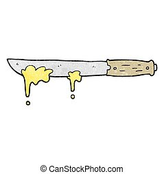 textured cartoon butter knife - freehand textured cartoon...