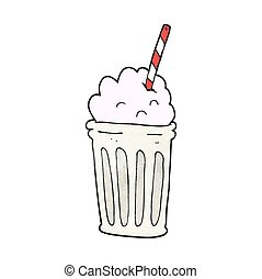 textured cartoon milkshake - freehand textured cartoon...