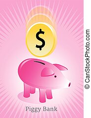 Piggy Bank with Coin Poster