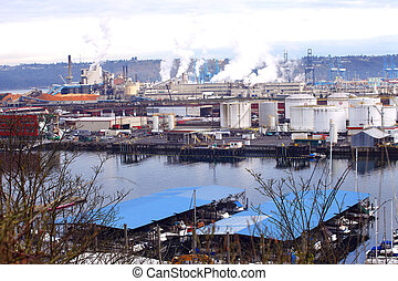 Industrial area. - An industrial landscape in Tacoma WA port...
