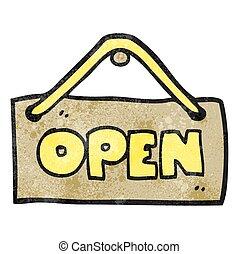 textured cartoon open shop sign - freehand textured cartoon...