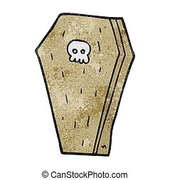 textured cartoon halloween coffin - freehand textured...