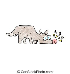 textured cartoon dog sniffing - freehand textured cartoon...