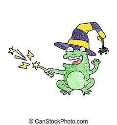 textured cartoon toad casting spell - freehand textured...