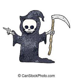 textured cartoon death with scythe - freehand textured...