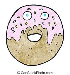 textured cartoon doughnut - freehand textured cartoon...