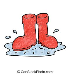 textured cartoon wellington boots in puddle - freehand...