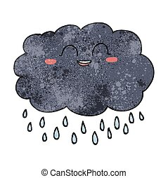 textured cartoon raincloud - freehand textured cartoon...