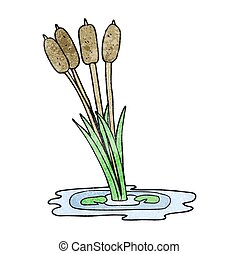 textured cartoon reeds - freehand textured cartoon reeds