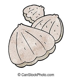 textured cartoon oysters - freehand textured cartoon oysters