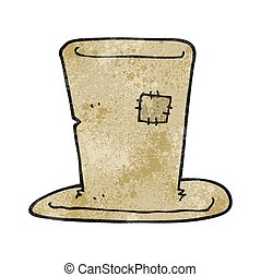 textured cartoon tramp top hat - freehand textured cartoon...