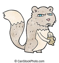textured cartoon angry squirrel with nut