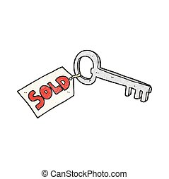 textured cartoon new house key - freehand textured cartoon...