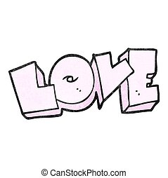 textured cartoon love sign - freehand textured cartoon love...