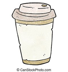 textured cartoon take out coffee