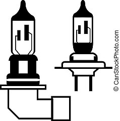 Car lightbulb headlight vector