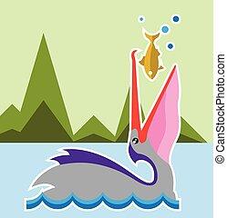 Pelican Eats Fish