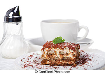tiramisu cake with a cup of coffee