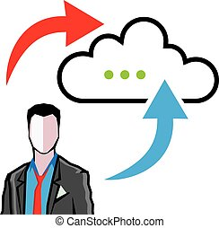 Cloud information exchange progress businessman