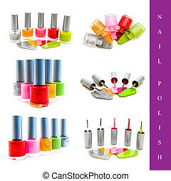 nail polish set - set of different nail polish images over...