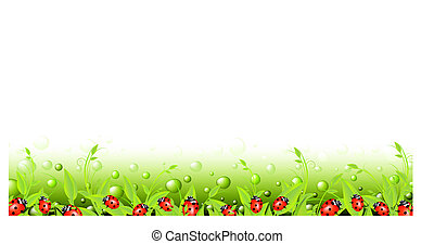 vital spark scenery banner with green flora and red...