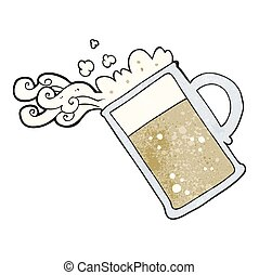 textured cartoon pouring beer - freehand textured cartoon...