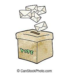 textured cartoon ballot box - freehand textured cartoon...