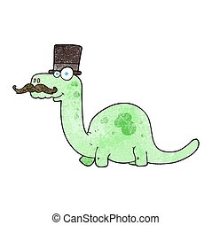 textured cartoon posh dinosaur - freehand textured cartoon...