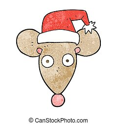 textured cartoon mouse in christmas hat - freehand textured...