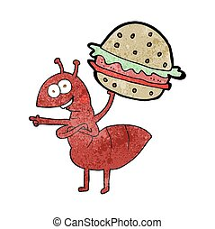 textured cartoon ant carrying food - freehand textured...