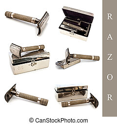 razor set - set of different razor images over white...